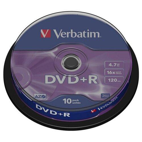 Фото - Носители информации DVD+R, 16x, Verbatim Azo Matt Silver, Cake/10, 43498 носители информации dvd r 16x verbatim azo matt silver cake 25 43500