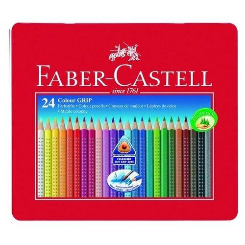 FABER-CASTELL Карандаши 24 цвета Faber-Castell GRIP 2001 трёхгранные, в металлической коробке