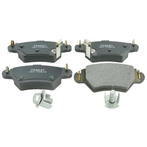 Дисковые тормозные колодки задние FEBEST 1801-CORCR для Opel Astra, Opel Corsa, Opel Zafira (4 шт.) дисковые тормозные колодки задние bosch 0986424646 для opel astra opel zafira 4 шт
