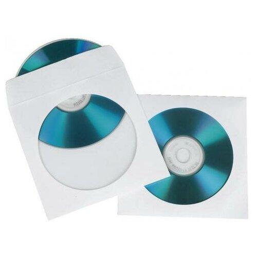 HAMA Конверты Hama для CD/DVD бумажные с прозрачным окошком белый 25 шт H-51179