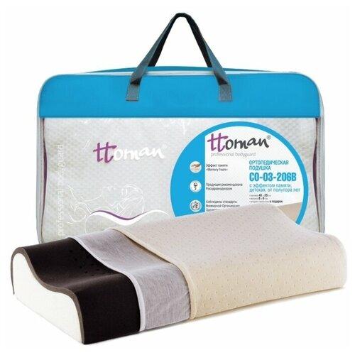 Ttoman Подушка детская ортопедическая c эффектом памяти, угольная 40x25 см, CO-03-206B