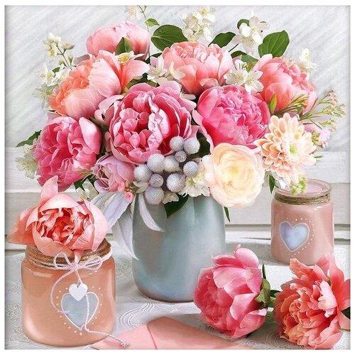 Купить Алмазная вышивка «Романтичный букет», 40x40 см, Алмазная Живопись, Алмазная живопись, Алмазная мозаика