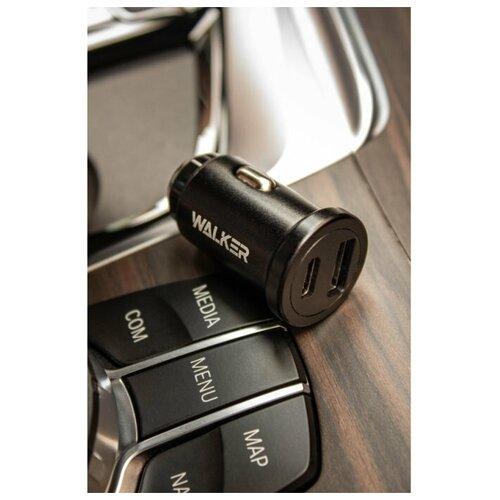 Зарядное устройство для телефона WALKER WCR-25, USB + Type-C разъемы, 36W быстрый заряд PD + QC 3.0, черное / автомобильная зарядка / универсальное / в авто / USB зарядка в автомобиль / для iphone / автозарядное / в прикуриватель