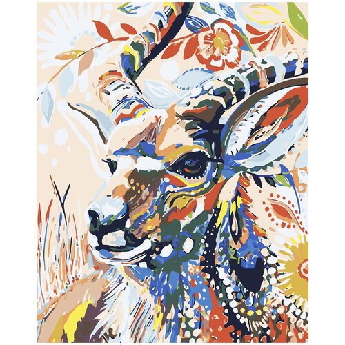 Картина по номерам Горный козел, 80 х 100 см, Красиво Красим, Картины по номерам и контурам  - купить со скидкой