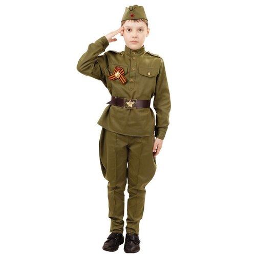 Купить Костюм пуговка Солдат (2032 к-18), хаки, размер 128, Карнавальные костюмы