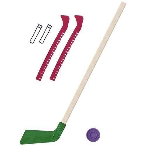 Набор зимний: Клюшка хоккейная зелёная 80 см.+шайба + Чехлы для коньков красные, Задира-плюс