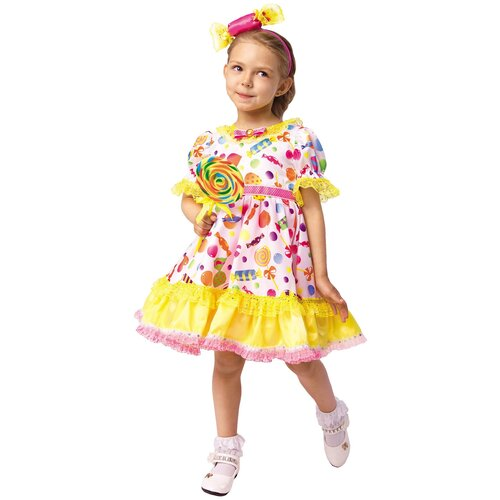 Купить Костюм пуговка Конфетка (1043 к-18), розовый/желтый, размер 128, Карнавальные костюмы