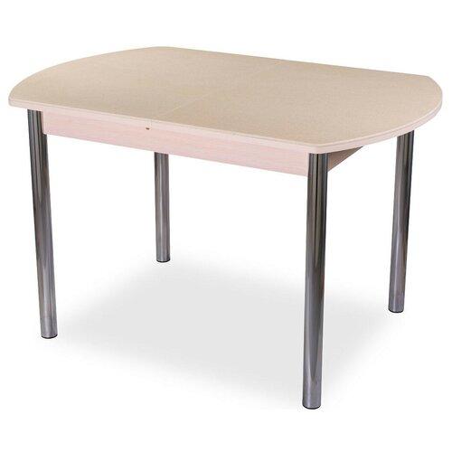 Стол кухонный Домотека Румба ПО КМ 02, раскладной, ДхШ: 110 х 70 см, длина в разложенном виде: 147 см, 06/МД бежевый/молочный дуб 02 хром