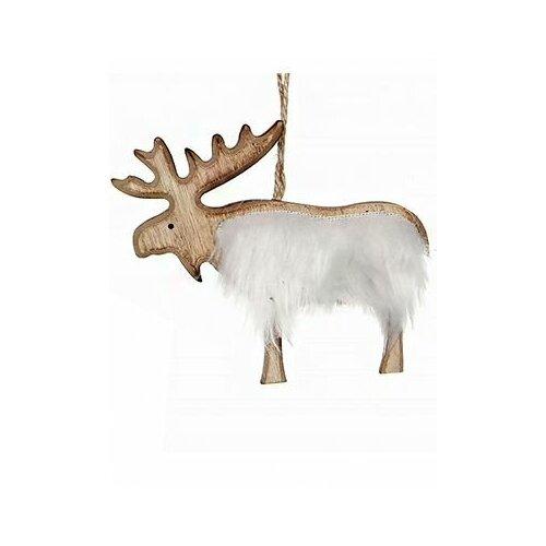 Украшение лесной красавчик - лось, дерево, мех, 12х11 см, Edelman 1017504-лось