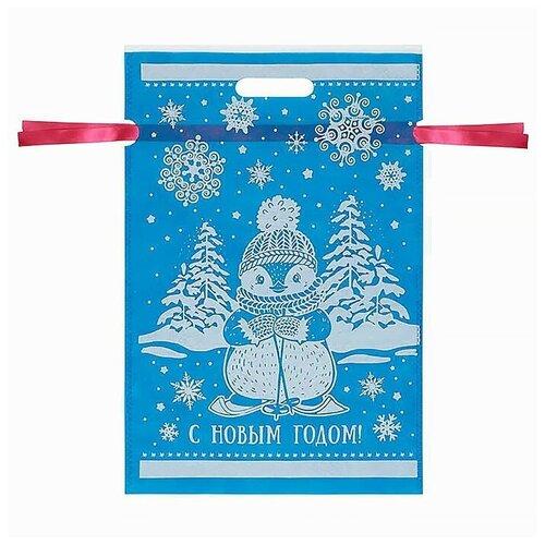 Мешочек Голубой M для упаковки сувенирной продукции из нетканого материала (спанбонд)