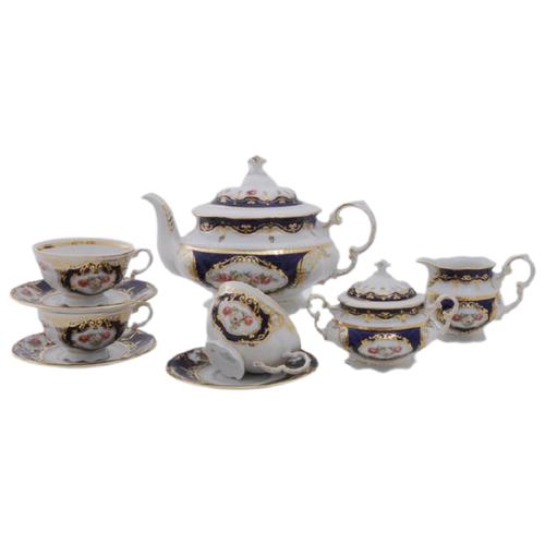 Фото - Сервиз чайный Соната Темно-синий орнамент с розами, на 6 персон, 15 пр., Leander сервиз чайный соната темно синий орнамент с розами 15 пр 07160725 0440 leander