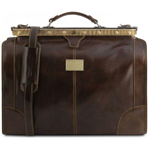 Дорожный кожаный саквояж Tuscany Leather Madrid TL1023 Темно-коричневый