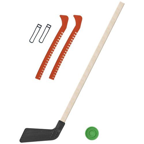 Набор зимний: Клюшка хоккейная чёрная 80 см.+шайба + Чехлы для коньков оранжевые, Задира-плюс