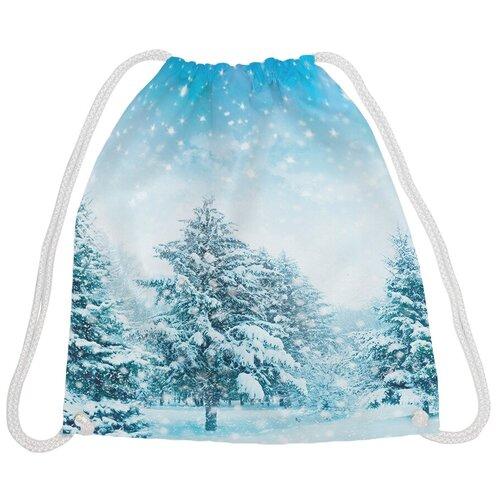 JoyArty Рюкзак-мешок Зима в лесу bpa_44969, белый/голубой joyarty рюкзак мешок радужные окошки bpa 207087 голубой