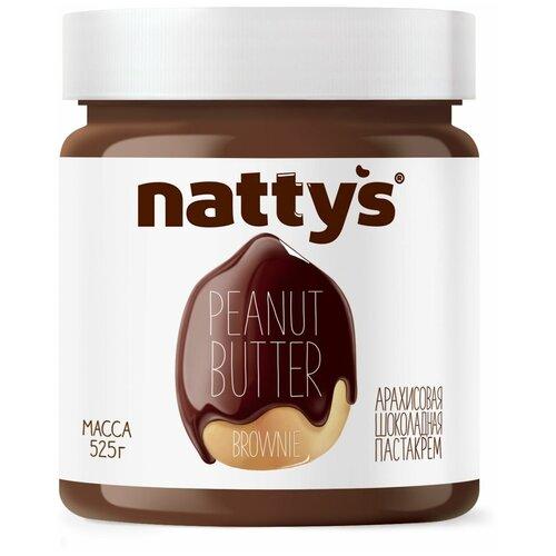 Паста арахисовая Brownie с шоколадом Nattys, 525 г nattys арахисовая паста chili с перцем чили и морской солью 325 г