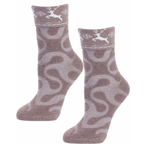 Женские бежевые махровые носки с оленями