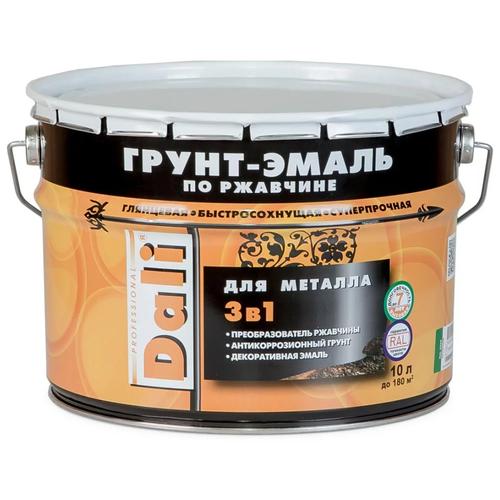 Фото - DALI по ржавчине 3-в-1 для металла Черный (Ral 9005) 10 л грунт эмаль dali по ржавчине 3 в 1 гладкая 0 75л черный