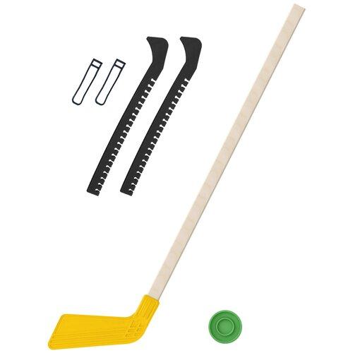Набор зимний: Клюшка хоккейная жёлтая 80 см.+шайба + Чехлы для коньков черные, Задира-плюс