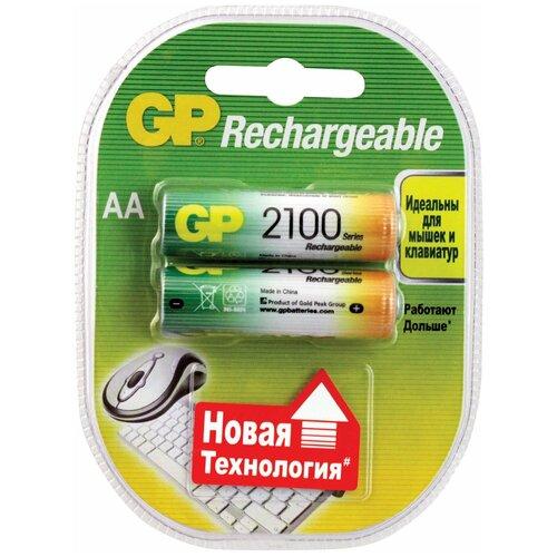 Фото - Батарейки аккумуляторные GP, АА, Ni-Mh, 2100 mAh, комплект 2 шт., в блистере, 210ААНСB-UC2 аккумуляторные батарейки xiaomi zmi zi5 aa aa512 4шт в упак 1700 мач