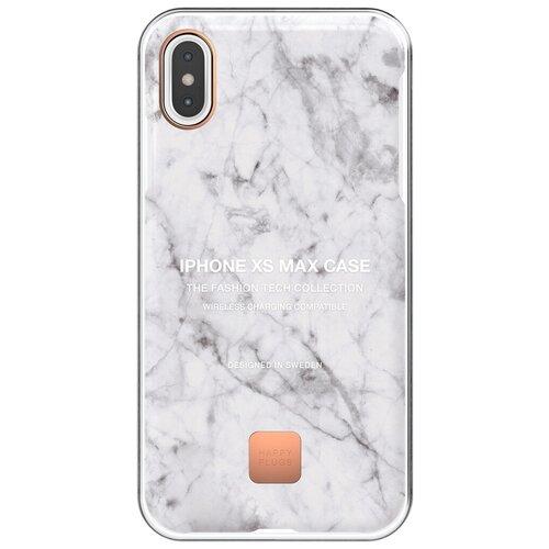 Фото - Чехол-накладка Happy Plugs 9326 для Apple iPhone Xs Max white marble клип кейс happy plugs для apple iphone xs black marble черный мрамор