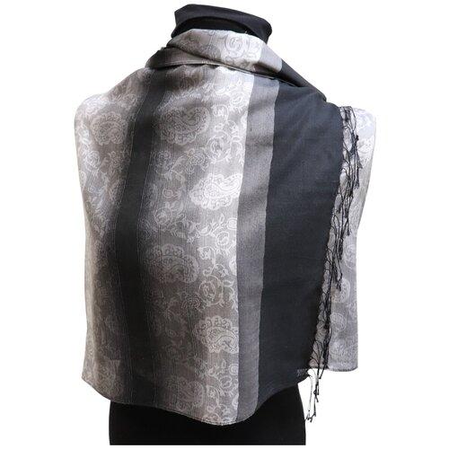 Палантин Crystel Eden 7688 шерсть серый/черный