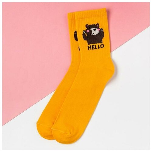 Носки Kaftan Hello 5404323, размер 23-25 см (37-39), желтый