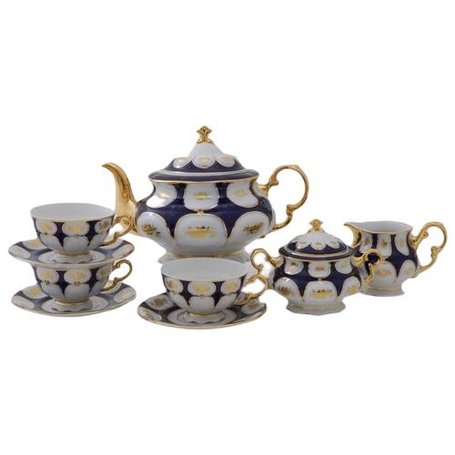 Фото - Сервиз чайный Соната Темно-синий орнамент с золотом, на 6 персон, 15 пр., Leander сервиз чайный соната темно синий орнамент с розами 15 пр 07160725 0440 leander