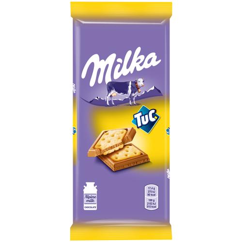alpen gold шоколад молочный с соленым арахисом и крекером 5 шт по 85 г Шоколад Milka молочный с соленым крекером TUC, 87 г