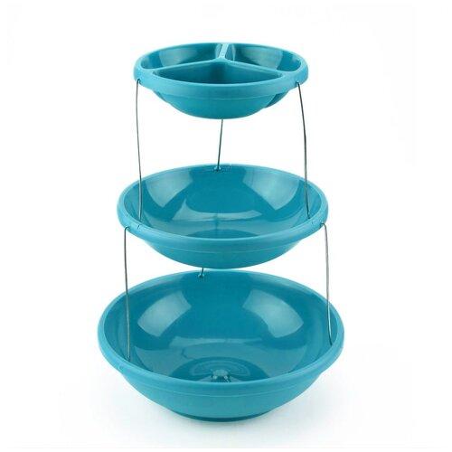 Фруктовница менажница трёхъярусная, этажерка, 28х28х8 см, цвет голубой, Kitchen Angel KA-BOWL1-02 недорого