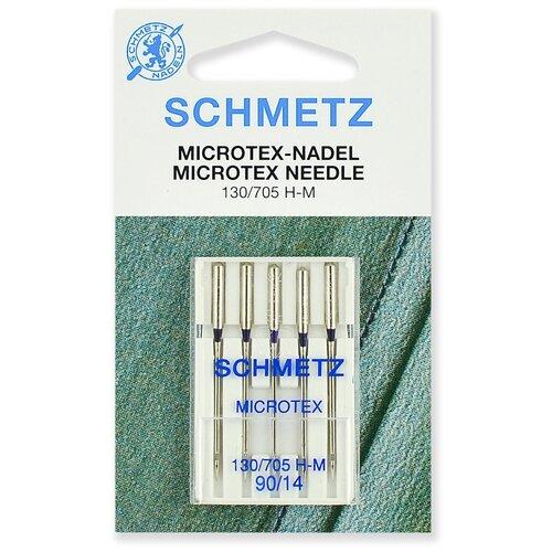 Игла/иглы Schmetz Microtex 130/705 H-M 90/14 особо острые серебристый игла иглы schmetz 130 705 h zwi 4 90 двойные универсальные серебристый