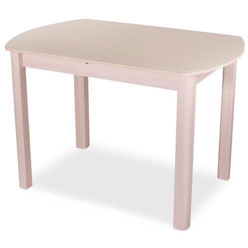 Стол кухонный Домотека Танго ПО-1 04, раскладной, ДхШ: 120 х 80 см, длина в разложенном виде: 157 см, МД ст-крем молочный дуб/крем 04 МД молочный дуб