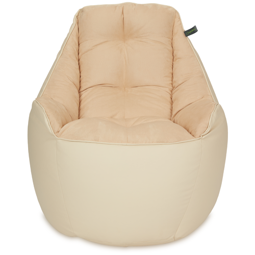 Кресло мешок «Босс», эко-кожа и замша, Бежевый