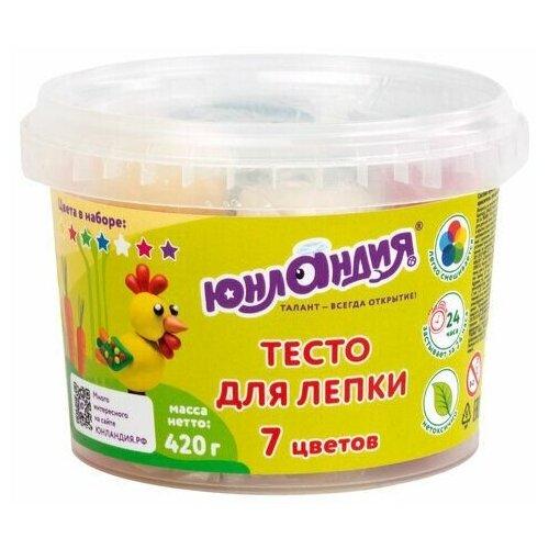 Купить Пластилин на растительной основе (тесто для лепки) юнландия, 7 цветов, 420 г, пластиковое ведро, 105506, Юнландия, Пластилин и масса для лепки