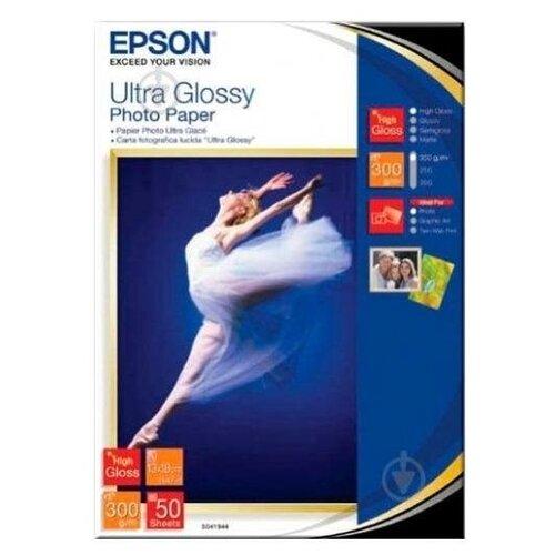 Фото - Epson C13S041944 Бумага Ultra Glossy Photo Paper, 13x18см, глянцевая, 300г/м2, 50листов бумага epson a4 premium glossy photo paper c13s041624 255г м2 50 лист белый