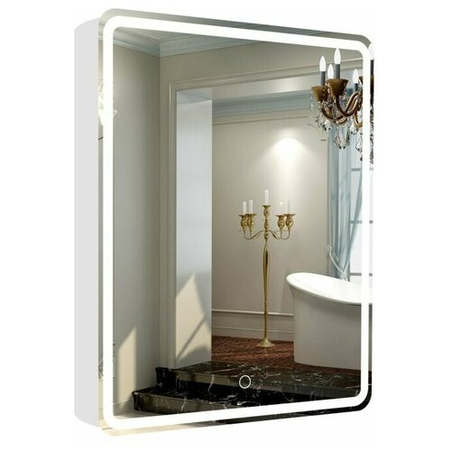 Зеркальный шкаф La Tezza с LED подсветкой, сенсорный включатель с диммером, розетка, 550х800х143 (ШВГ), правый, арт. LT-CM5580-s-R
