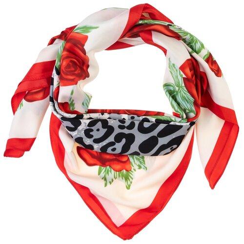 Шелковый платок на шею/Платок шелковый на голову/женский/Шейный шелковый платок/стильный/модный /21kdgpl326-849a9vr белый,красный/Vittorio Richi/100% шелк/90x90