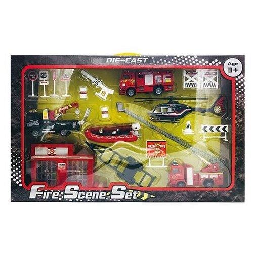 Набор техники Shantou Gepai Пожарный (XY288/DT), красный/черный внедорожник shantou gepai 6149d dt 20 см голубой белый