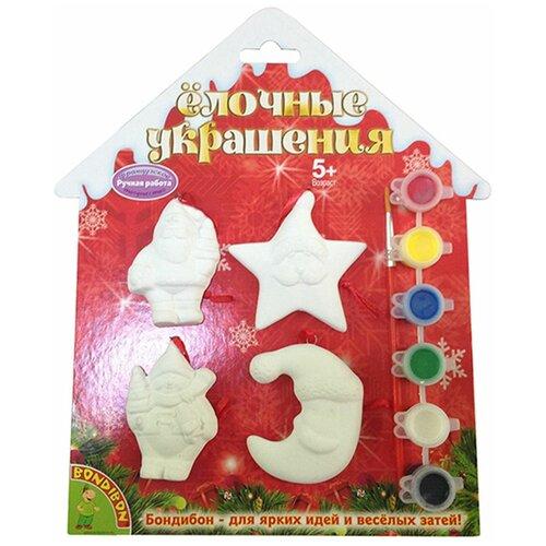 Купить BONDIBON Набор для творчества Елочные украшения Дед Мороз Снеговик Месяц Звезда (ВВ1570), Роспись предметов