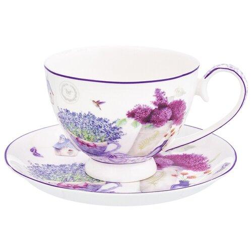 Фото - Чайная пара Elan gallery Лаванда, 300 мл, 2 предм., белый/фиолетовый чайная пара фарфоровая 2 предмета 360 мл elan gallery птички на ветке 2 штуки