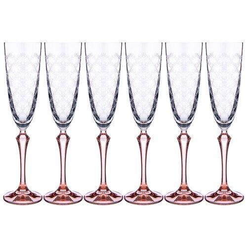 Набор бокалов для шампанского elisabeth brown smoke из 6 шт 200 мл Bohemia Crystal (674-736)