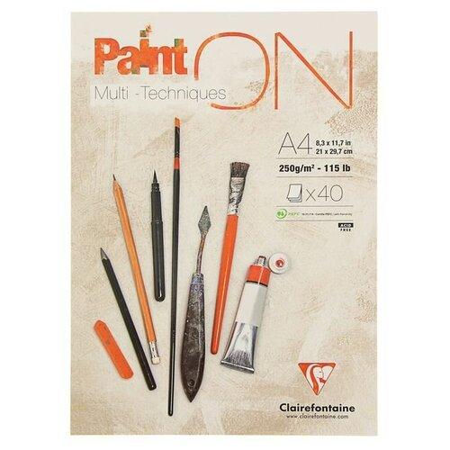 Купить Альбом для смешанных техник Clairefontaine Paint'On 29.7 х 21 см (A4), 250 г/м², 40 л., Альбомы для рисования