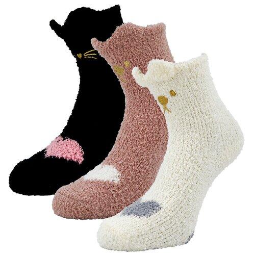 Женские демисезонные носки Guarneri из мягкого кораллового флиса, 3 пары в подарочном пакете. Размер 36-40. Цвет белый, черный, пудровый.