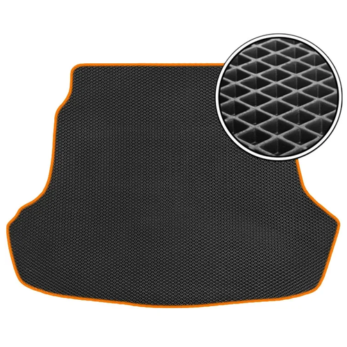 Автомобильный коврик в багажник ЕВА Geely Atlas I 2016- н.в (багажник) (оранжевый кант) ViceCar