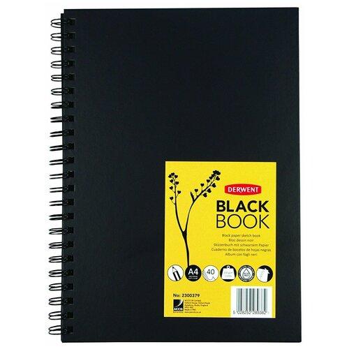 Фото - Скетчбук для зарисовок Derwent Black Book 29.7 х 21 см (A4), 200 г/м², 40 л. черный скетчбук блокнот для зарисовок полином на металлическом гребне artbook quadro big aquarelle 19 х 19 см 200 г м² 20 л