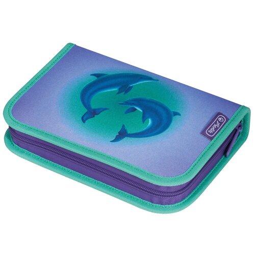 Пенал Herlitz Dolphins, Дельфин, фиолетовый, с наполнением 31 предмет