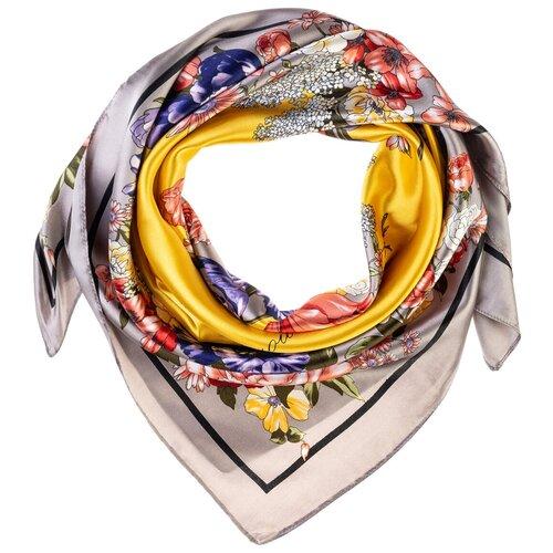 Шелковый платок на шею/Платок шелковый на голову/женский/Шейный шелковый платок/стильный/модный /21kdgPL902701-2vr желтый,серый/Vittorio Richi/80% шелк,20% полиэстер/90x90