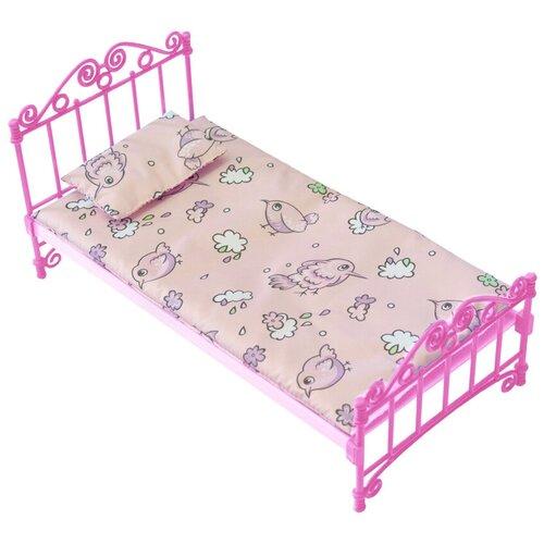 ОГОНЁК Кроватка с постельным бельем (С-1427) розовый