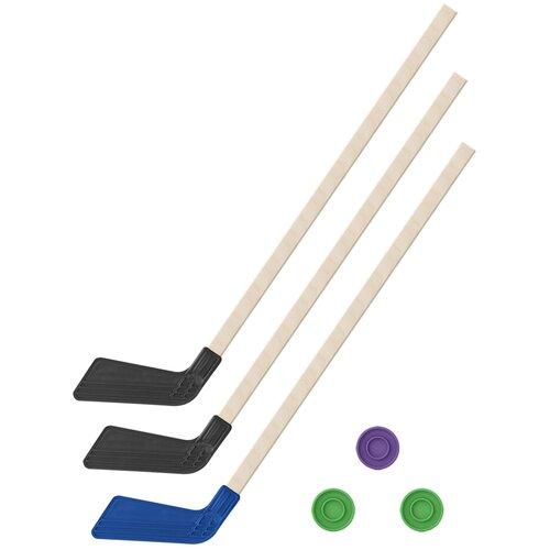 Детский хоккейный набор зима,лето 3 в 1/ Клюшки хоккейных 80 см. (2 черных, 1 синяя) + 3 шайбы,