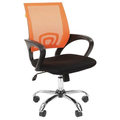 Компьютерное кресло Chairman 696 chrome офисное, обивка: текстиль, цвет: черный TW-11/оранжевый недорого