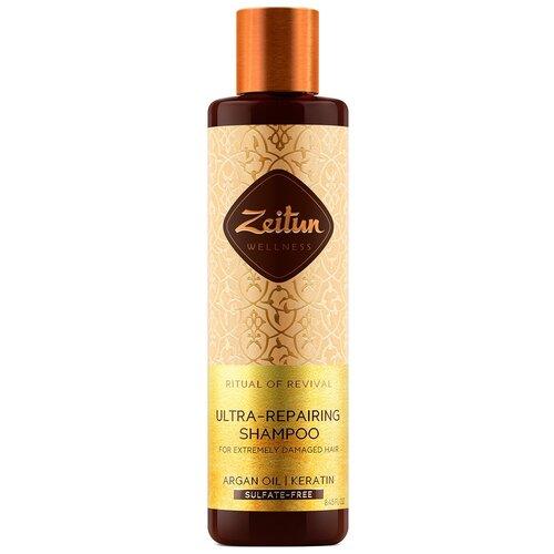 Zeitun шампунь для волос Ритуал восстановления с аргановым маслом и кератином для поврежденных волос, 250 мл недорого
